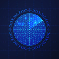 HUD interface element vector round radar. Vector template background