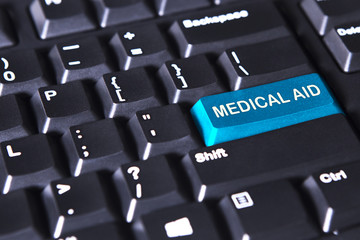 Blue button with text of medical aid