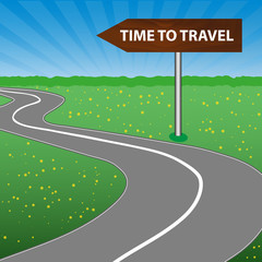 The concept of a time to travel. The road sign is wooden. Arrow. A winding road, sunny space, a forest and a meadow with flowers. Vector