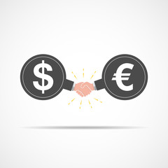 Symbol of handshake between dollar signs and euro. Vector illustration.