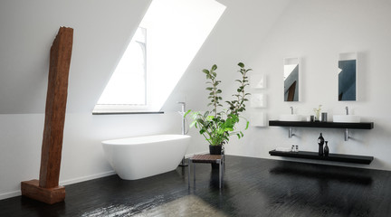 Modern stylish black and white attic bathroom