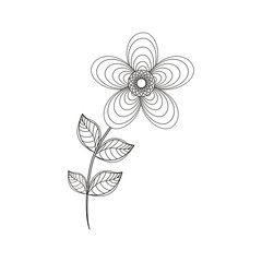 geranium flower decoration line vector illustration eps 10