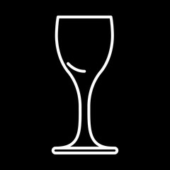 icon of drink glass vodka white contour on black background of vector illustration