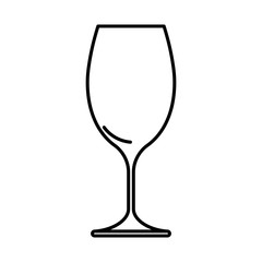 Icon wine glass black contour on white background of vector illustration