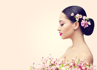 Japanese Girl and Flowers, Asian Woman Beauty Makeup Profile, Beautiful Fashion Model Side View over Pink Background