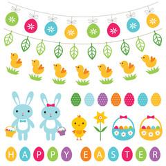 Easter and spring design elements set