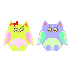 two owls male female vector