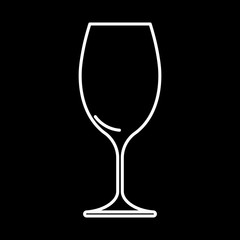 Icon wine glass white contour on black background of vector illustration