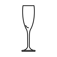 Icon glass of champagne black contour on white background of vector illustration