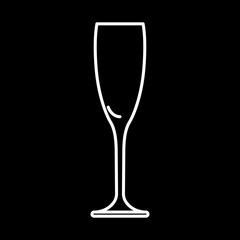 Icon glass of champagne white contour on black background of vector illustration
