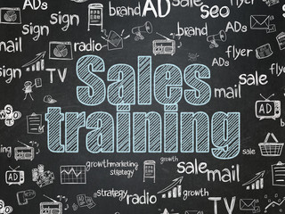 Advertising concept: Sales Training on School board background