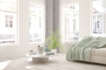 White room with sofa and urban  landscape in window. Scandinavian interior design. 3D illustration