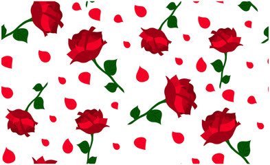 A seamless vector pattern of red roses