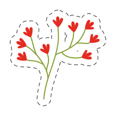 red flower ornate image cut line vector illustration eps 10