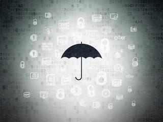Privacy concept: Umbrella on Digital Data Paper background