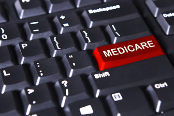 Medicare word on the red button