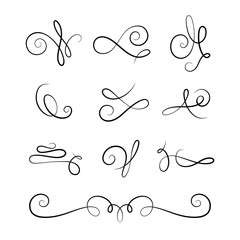 Scroll elements, set of vintage calligraphic flourishes