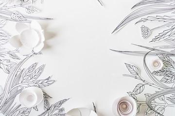 ramka z 3d kwiatów papieru z malowane liści i łodyg na białym tle