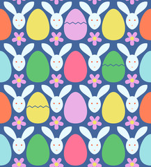 Seamless pattern with colorful Easter eggs and rabbits. Vector illustration.