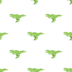 Vector flat style seamless pattern with green dinosaur t-rex.