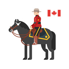 Vector flat style illustration of Royal Canadian Mounted Police.
