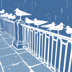 White birds on the waterfront. Blue illustration background for cards.