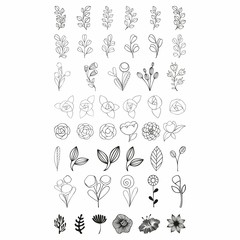 Flower set. Vector stylized flowers