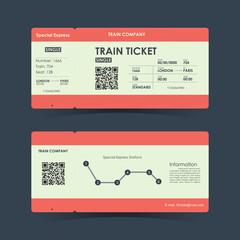 Train ticket concept design. Vector illustration.
