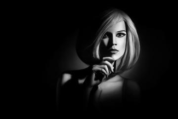 White hair style Blond woman portrait