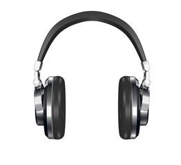 steel and leather headphones 3d render