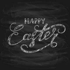 Black chalkboard background with Happy Easter