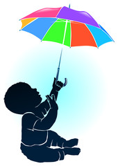 Silhouette baby and colored umbrella