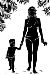 Silhouette mom and baby walking along beach