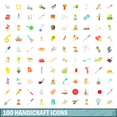 100 handicraft icons set, cartoon style