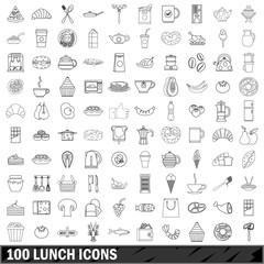 100 lunch icons set, outline style