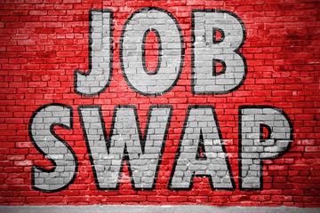 Job Swap Ziegelsteinmauer Graffiti