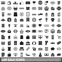 100 sale icons set, simple style