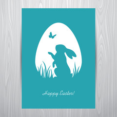 Standing rabbit silhouette in a white egg shaped frame