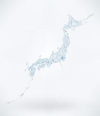 Wall Mural - Abstract Telecommunication Network Map - Japan