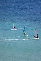 Windsurfing in Vassiliki bay, Lefkada island, Greece