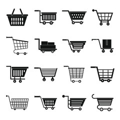 Shopping cart icons set, simple style