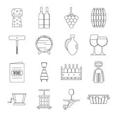 Shopping cart icons set, outline style