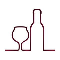 bottle and cup wine vector illustration design