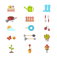 Set of Spring and Gardening Icons. Flat Design Style.