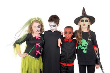 little kids posing on halloween
