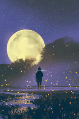 night scenery of man standing in swamp with fireflies and full moon on background,illustration painting