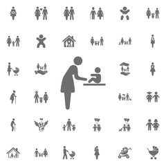 Woman and baby Changing diapers Vector icon. Set of family icons
