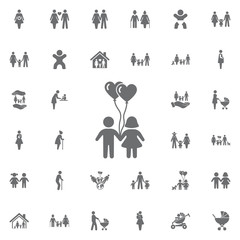 Children with heart balloon Icon Vector. Set of family icons