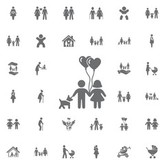 Children with dog and heart balloon Icon Vector. Set of family icons