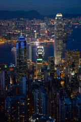 Night view of Hong Kong skyline from the Victoria peak